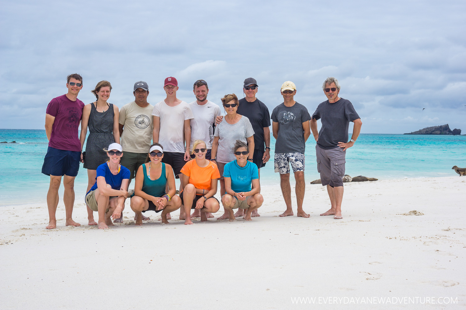Having fun with our buddies from the Aida Maria on Gardner Bay Beach.
