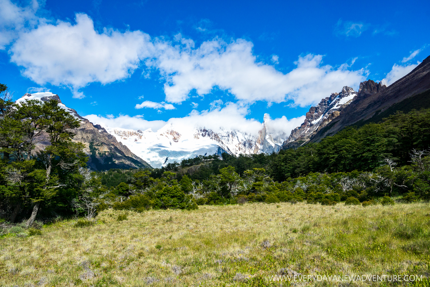 On our way to Laguna Torre, with Cerro Torre peaking through the rolling clouds.