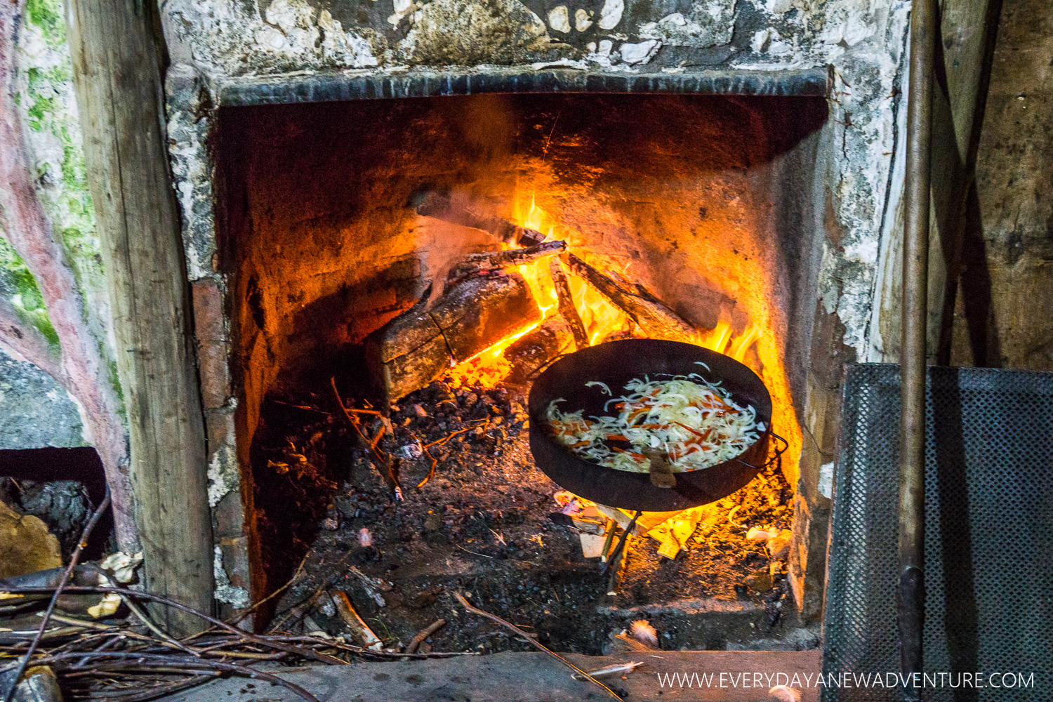 Our dinner, Pollo al Disco, cooking in the fireplace!