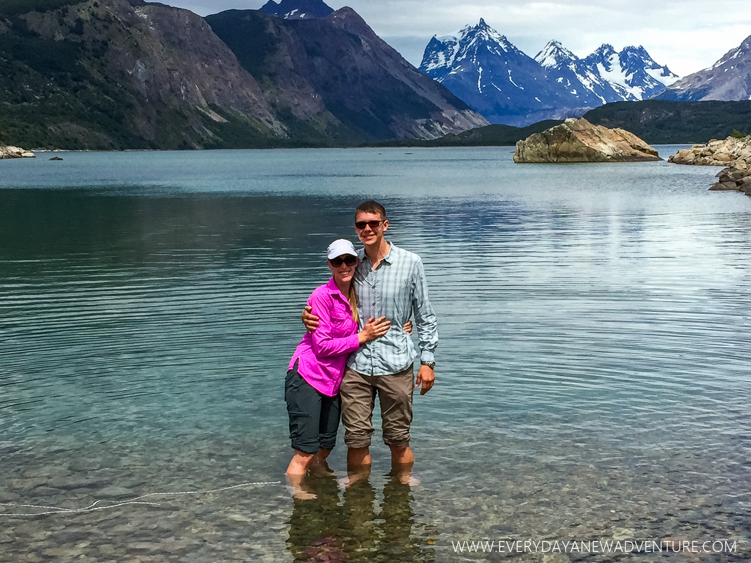 Standing in the very cold Frias Lake - this was as far as we were going!