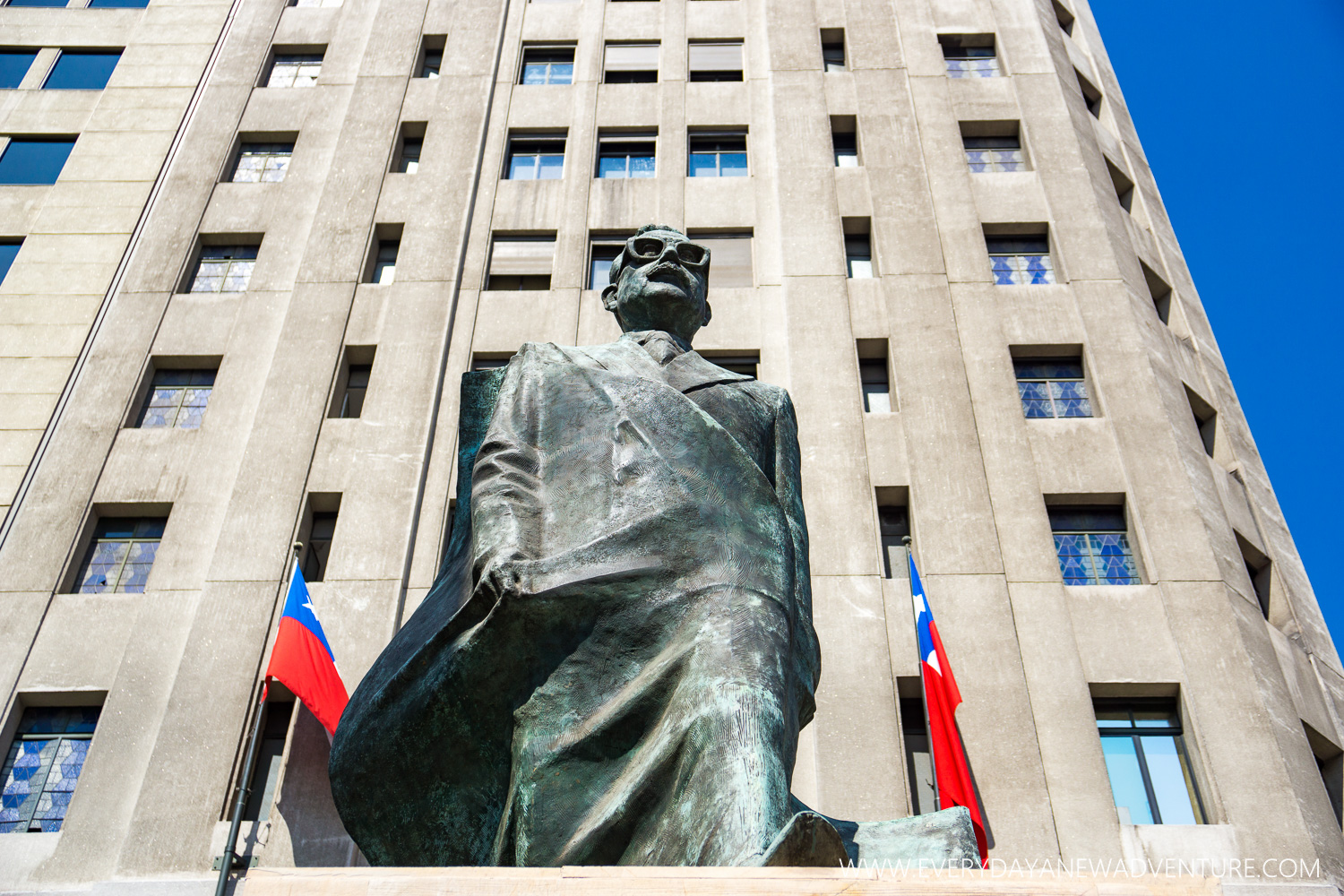 The statue of Allende outside the rebuilt La Moneda. Our guides called him the first hipster of Chile with those glasses!
