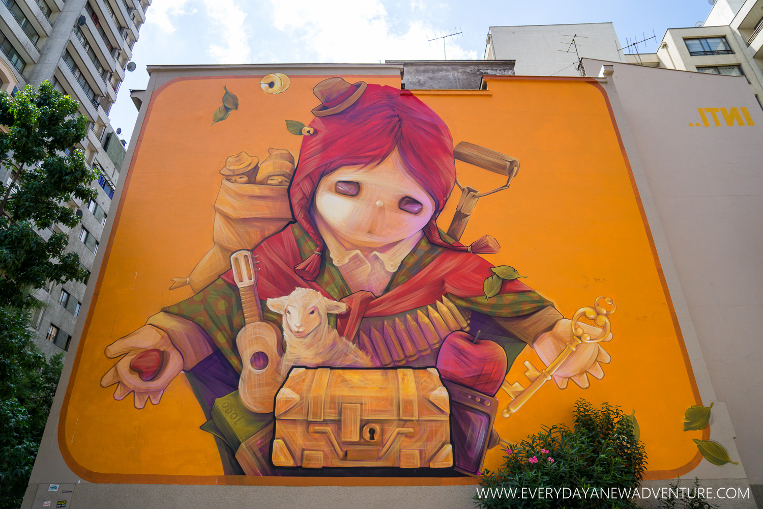 A new piece by famous graffiti artist Inti. We first learned about him in Bogota.
