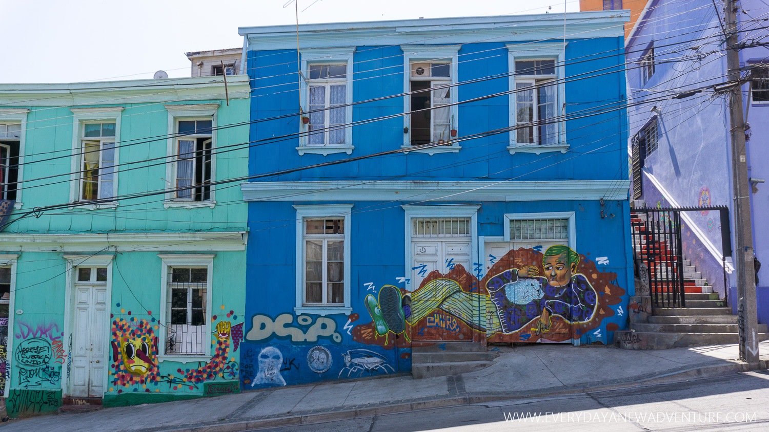 Street art was all over the colorful buildings of Valparaiso.