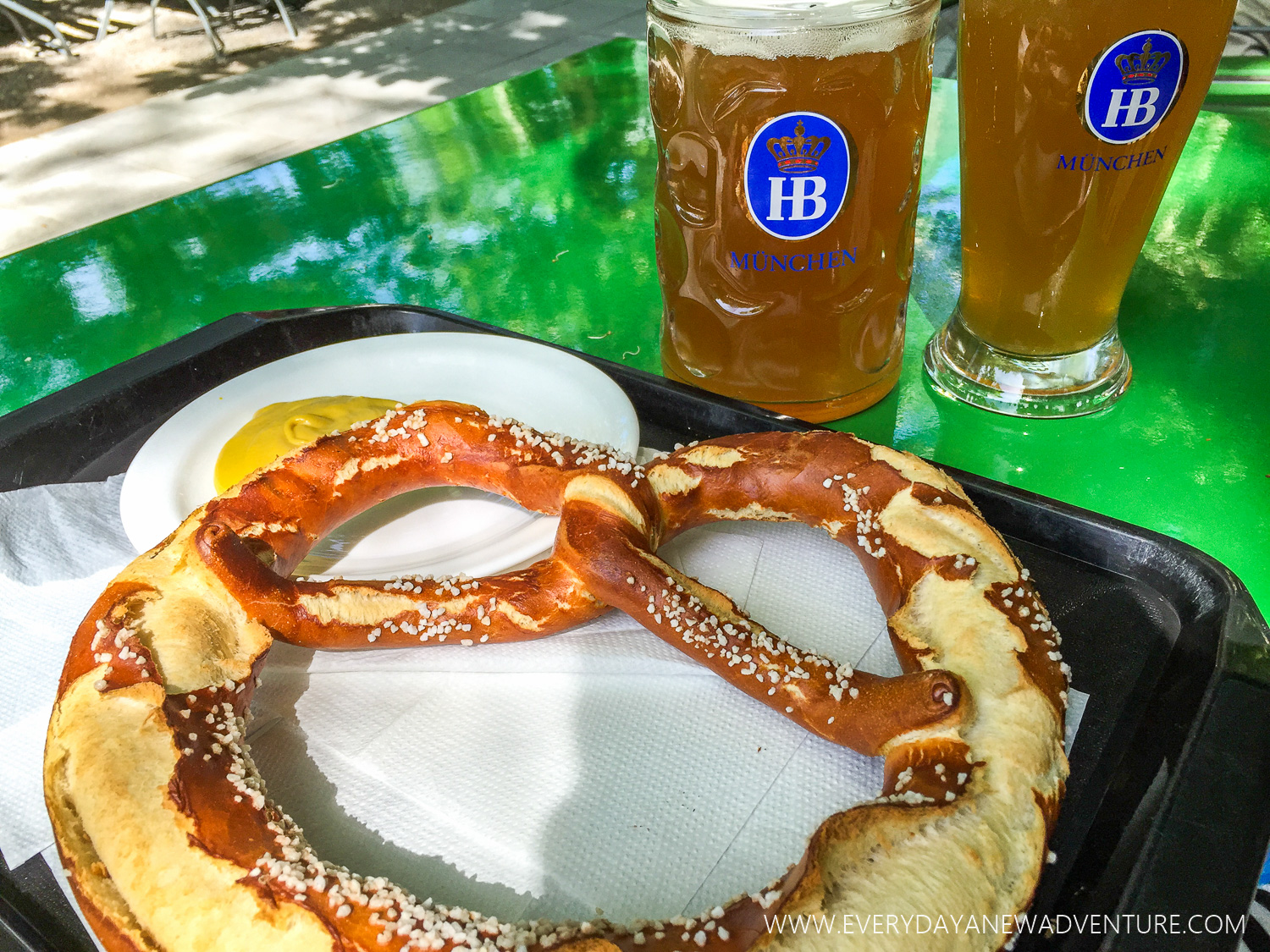 The pretzels and beer at the Chinese Tower Beer Garden in Munich were so tasty!