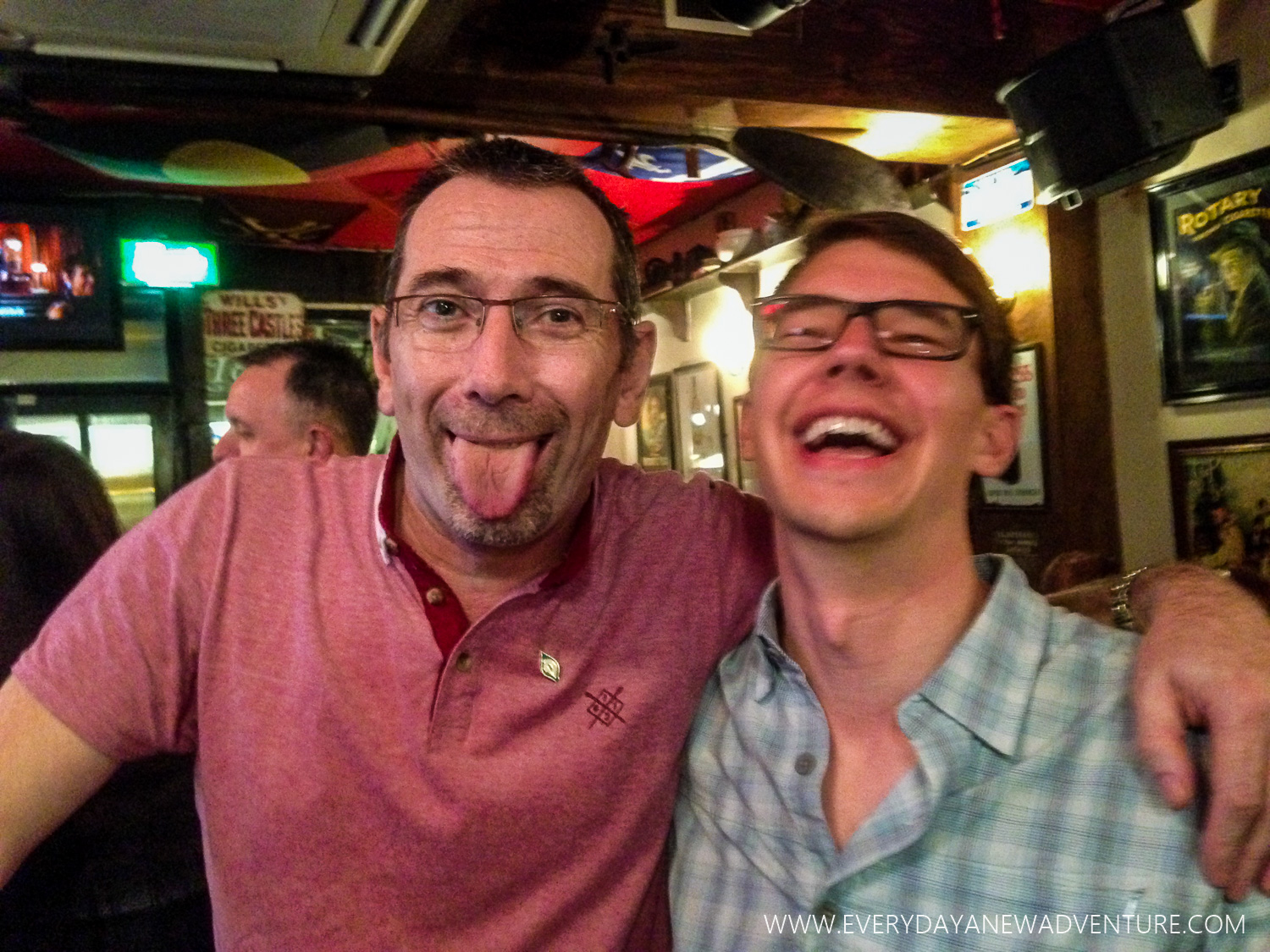 Laughing with our new friend John Meenan at Peadar O'Donnell's in Derry, Northern Ireland.