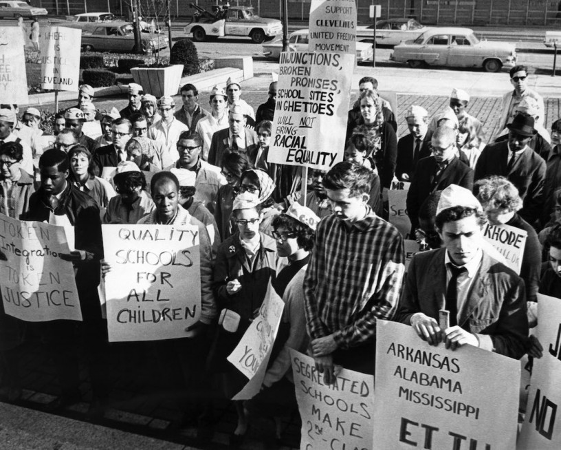 Representatives of the Congress of Racial Equality and student groups mass at the City Hall steps in Columbus, Ohio on April 18, 1964 to support civil rights leaders protesting alleged de factor segregation in Cleveland's schools.   CREDIT: ASSOCIATED PRESS