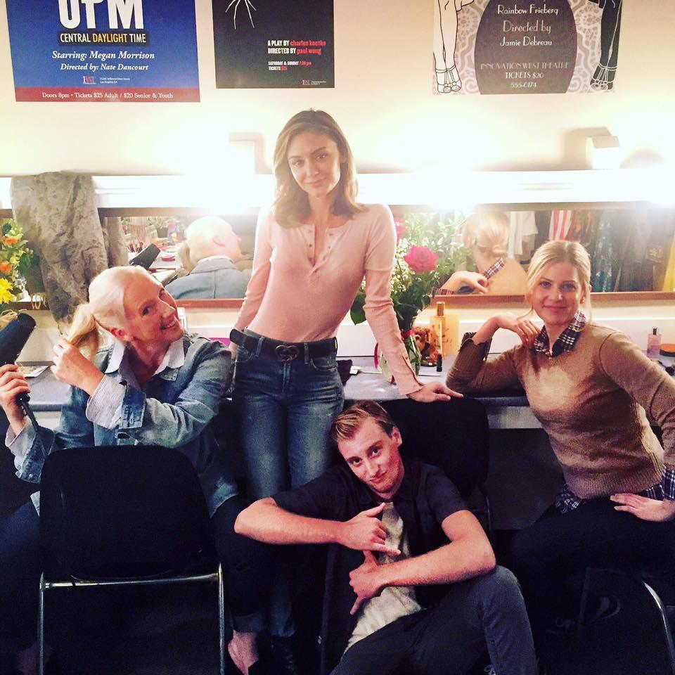 "Backstage antics of the play within the TV show ""The Arrangement"". Amanda Burke, Christine Evangelista, Darren Adams, Tammy Gillis"