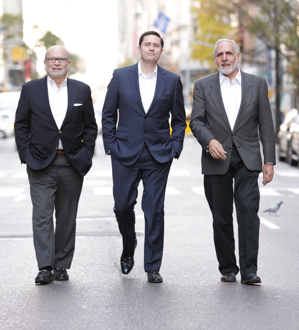 Photo : Catalyst Co-Presidents Carlos Pesant (left), Mark Harari (right) with new partner Chilmark Construction Founder Will Seward (center) near their offices in New York City.   Photo by Michael Benabib.