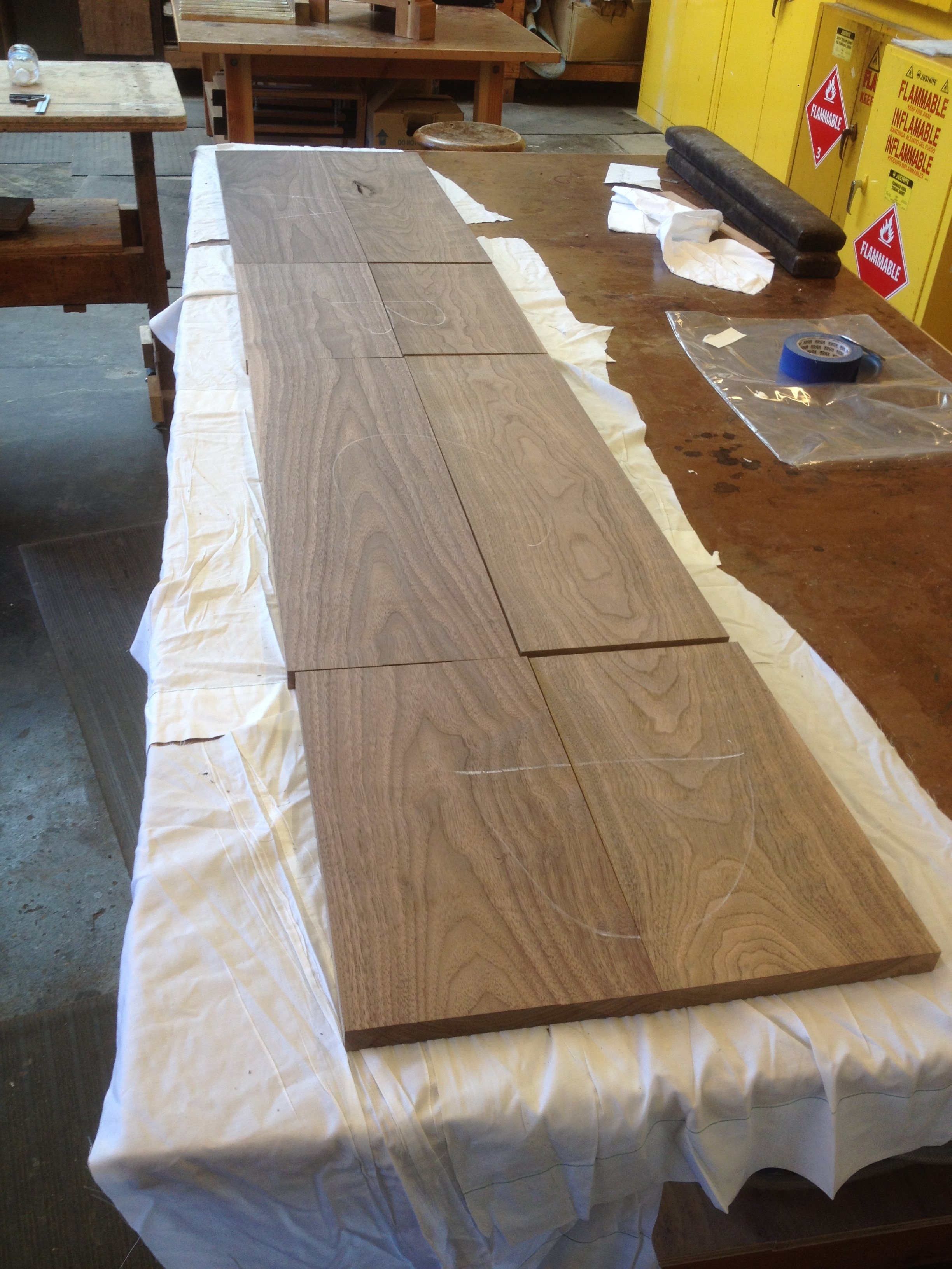 Laying out the toolbox panels to ensure a continuous grain pattern.