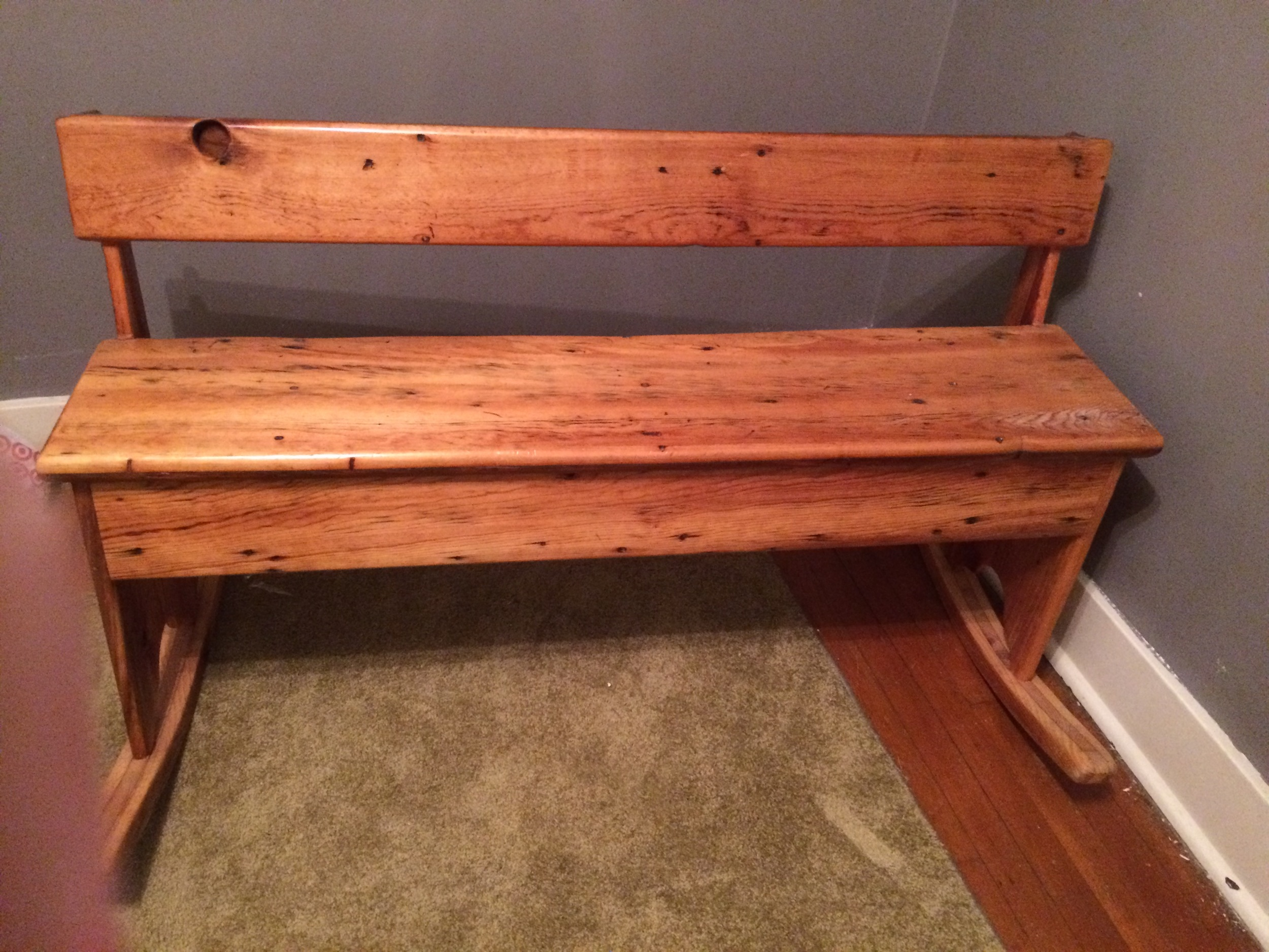 A bench I made around the same time as the table above.  It rocked for shit and, honestly, I cut the rockers off of it and sold the bench off at a yard sale before moving to Boston.