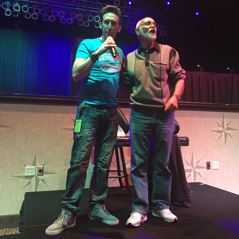 Dustin Pari joined John on stage to talk about how John had been a mentor to him.