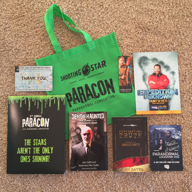 Many great items from Paracon for my scrapbook!