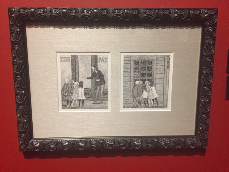 Sketches by Edward Gorey. I love his style and sense of humor.