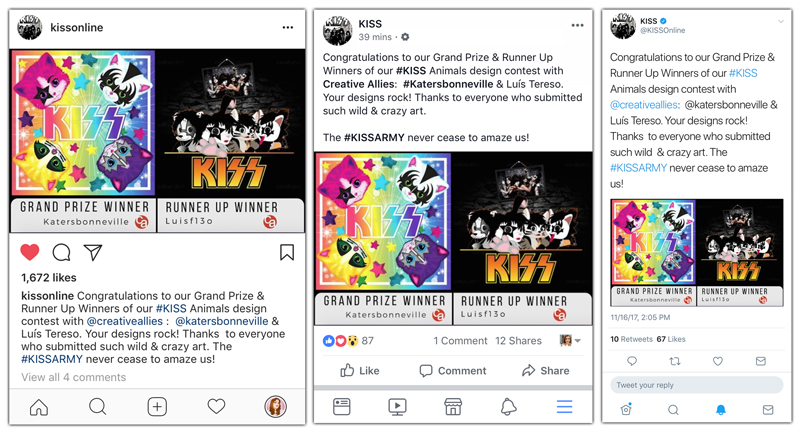 They shared my work on Instagram, Facebook, and Twitter.