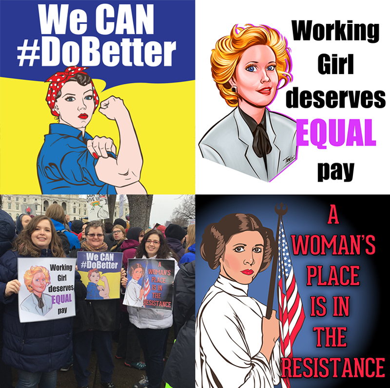 """Here are some signs I created for the women's march. Thank you to IBTRAV for the amazing """"Working Girl"""" illustration."""