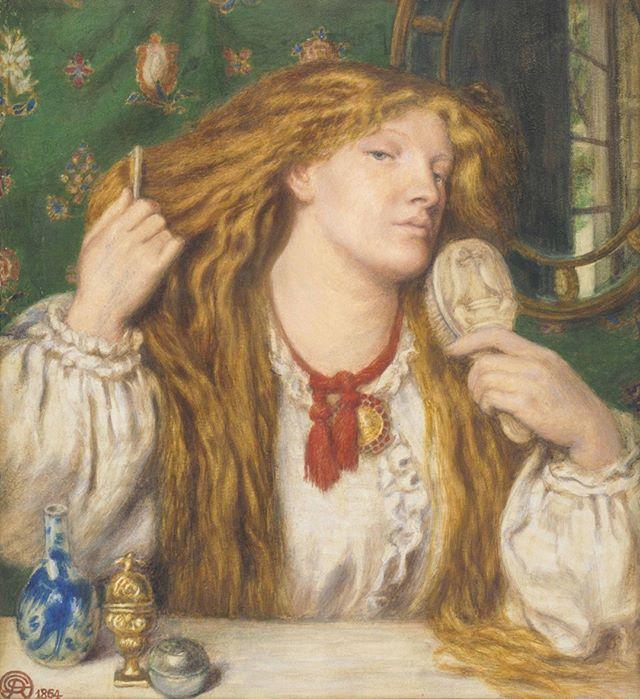 Woman Combing Her Hair, 1864, Dante Gabriel Rossetti ⠀⠀⠀⠀⠀⠀⠀⠀ ⠀⠀⠀⠀⠀⠀⠀⠀ #hairhistory #hairstyle #vintagehair #arthistory #thehairhistorian #rossetti