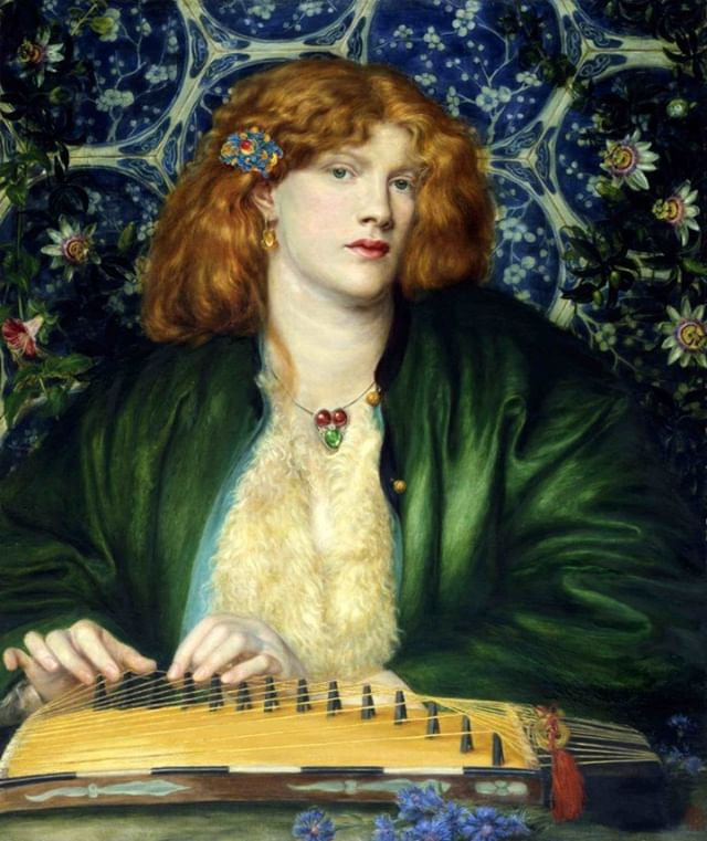 The Blue Bower, 1865, Dante Gabriel Rossetti ⠀⠀⠀⠀⠀⠀⠀⠀ ⠀⠀⠀⠀⠀⠀⠀⠀ #hairhistory #hairstyle #vintagehair #arthistory #thehairhistorian #rossetti