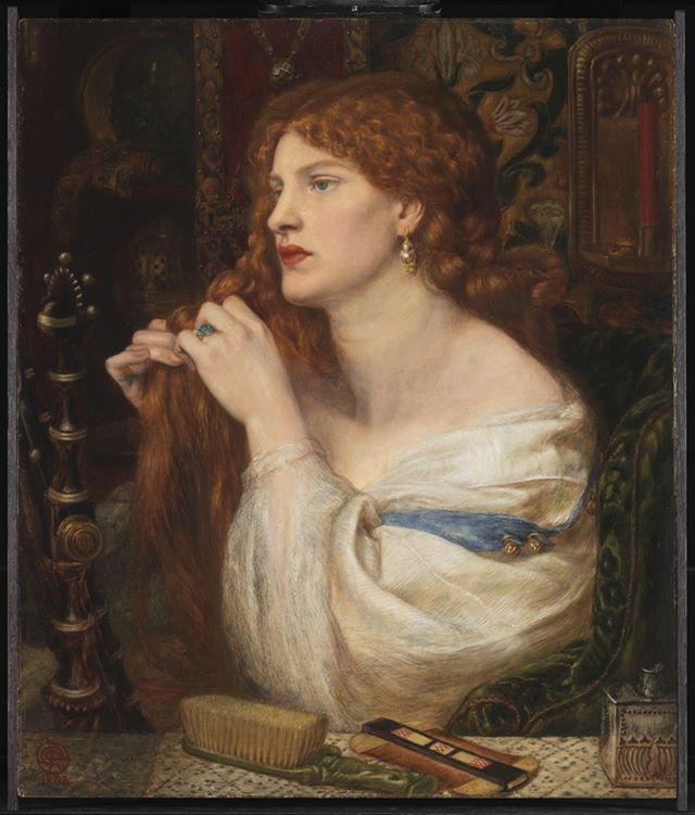 Fazio's Mistress, 1863, Dante Gabriel Rossetti ⠀⠀⠀⠀⠀⠀⠀⠀ ⠀⠀⠀⠀⠀⠀⠀⠀ #hairhistory #hairstyle #vintagehair #arthistory #thehairhistorian #rossetti