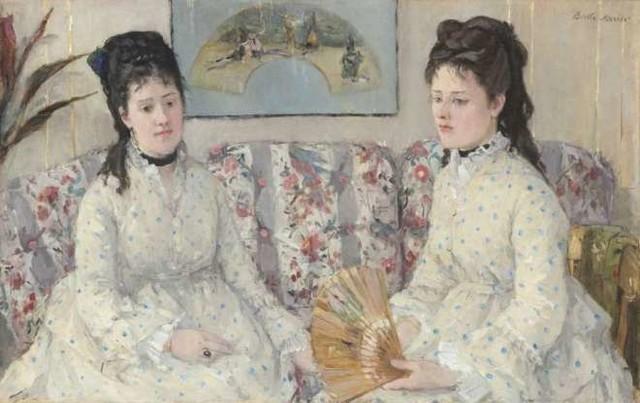 The Sisters, 1869, Bertha Morisot ⠀⠀⠀⠀⠀⠀⠀⠀ ⠀⠀⠀⠀⠀⠀⠀⠀ #hairhistory #hairstyle #vintagehair #arthistory #thehairhistorian #BerthaMorisot