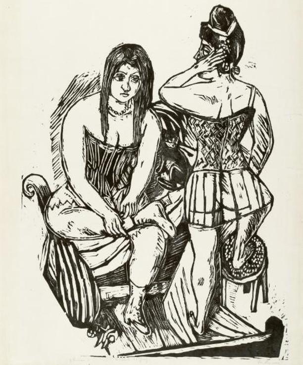 At the Toilette, 1923, Max Beckmann ⠀⠀⠀⠀⠀⠀⠀⠀ ⠀⠀⠀⠀⠀⠀⠀⠀ #hairhistory #hairstyle #vintagehair #arthistory #thehairhistorian #MaxBeckmann