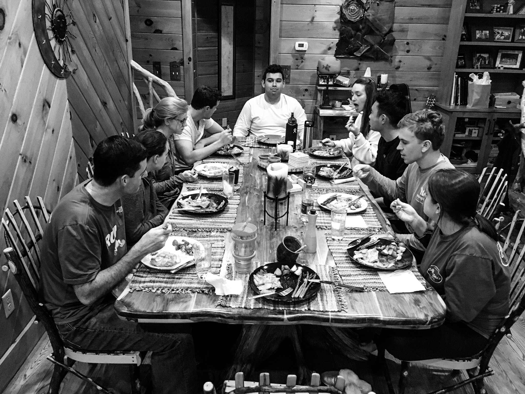 At first, I was disappointed that this is the only picture I have of us around the table. But then, I realized that this is real. This is honest. This is what life around the table actually looks like. So here ya go...