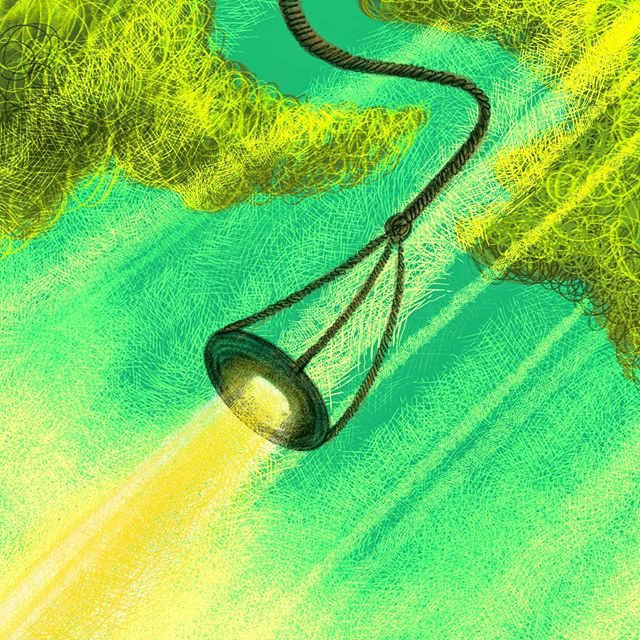 Inktober   Day 9   Swing . . My favorite memories of swinging are on the big tire swings in the small park near my grandma's house in Ukraine. . . It reminded me of what it felt like back then, when each swing was like a little blast off into space...sweeeet memories. . . Alsooo, by hanging the tire swings horizontally, (unlike here in the states where it's more common to see it hanging vertically), you could swing with a bunch of your friends instead of by yourself which I think sounds a lot more fun :) . . #inktober #inktober2019 #inktoberswing