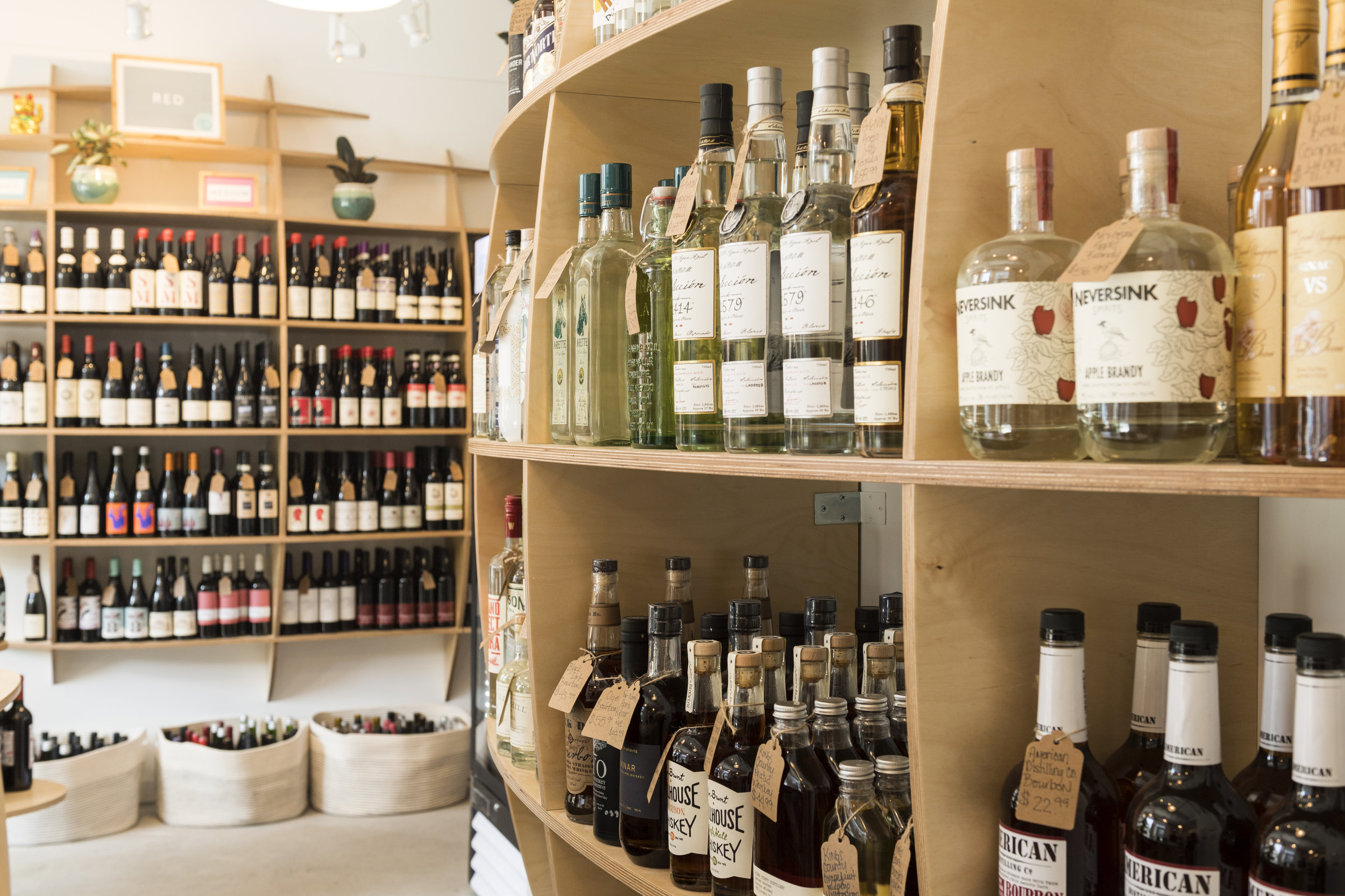 Store shelves. Spirits and wine.