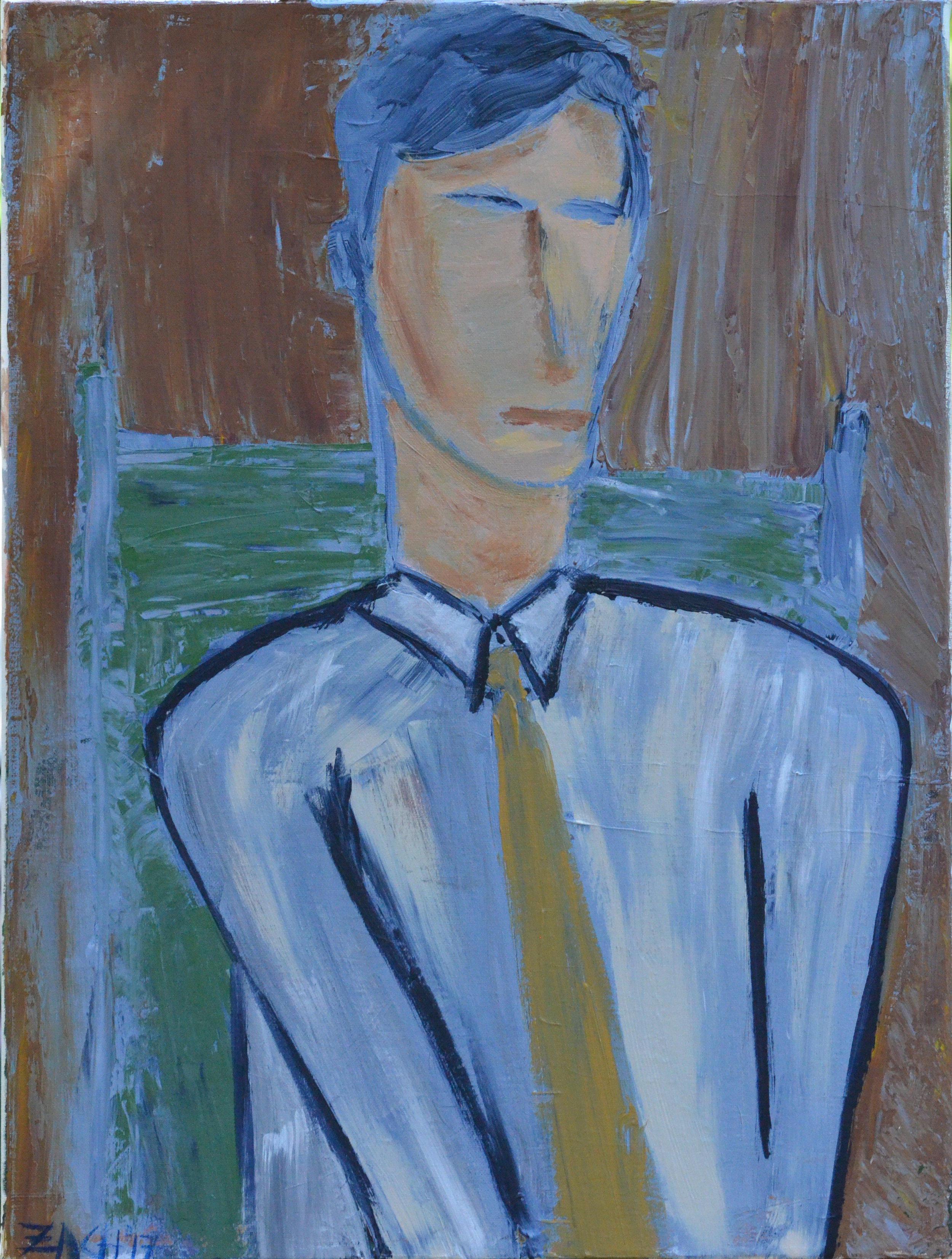 Man with Yellow Tie (2017, acrylic, 18 by 24)