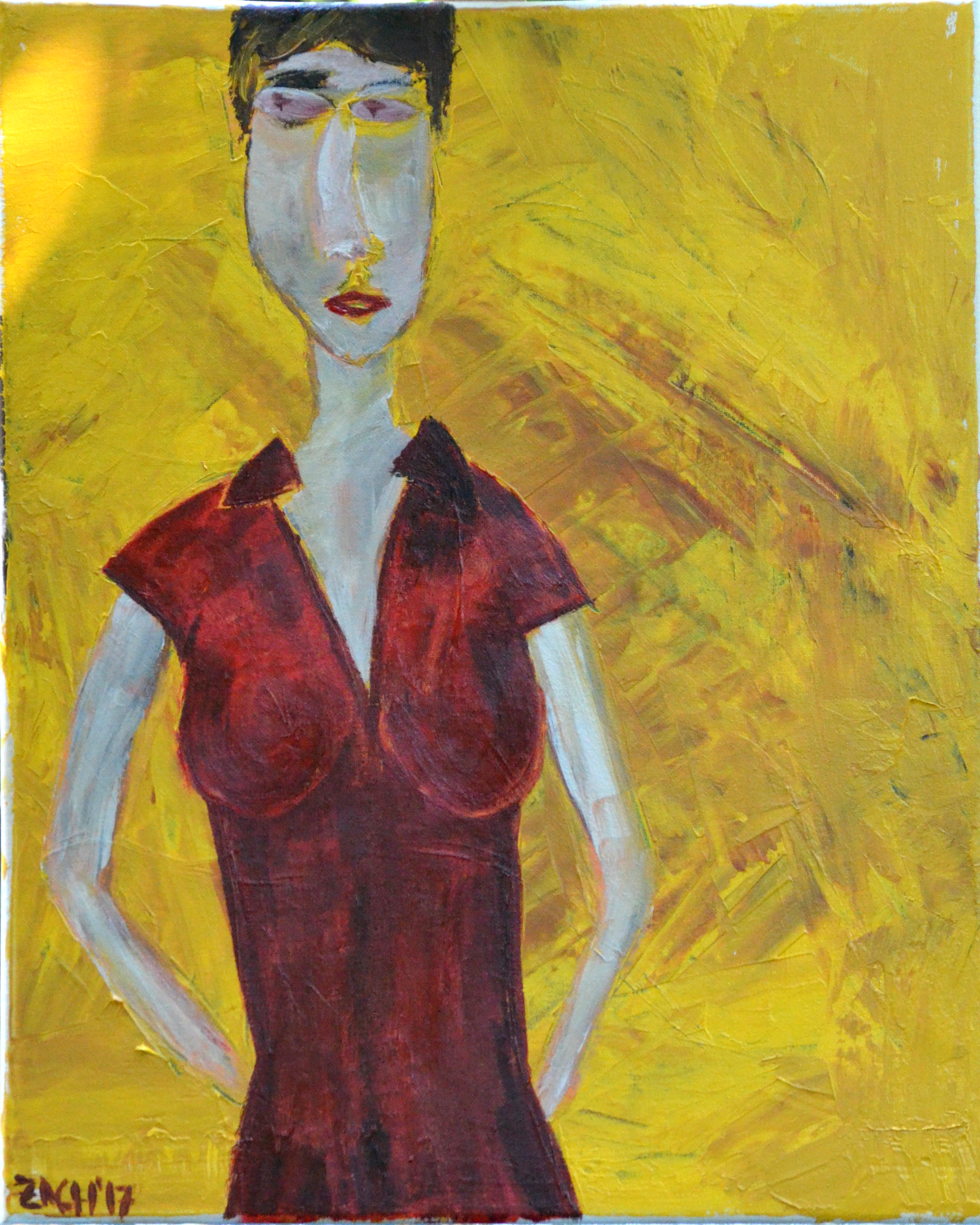 Woman in Red Dress (2017, acrylic, 16 by 20)
