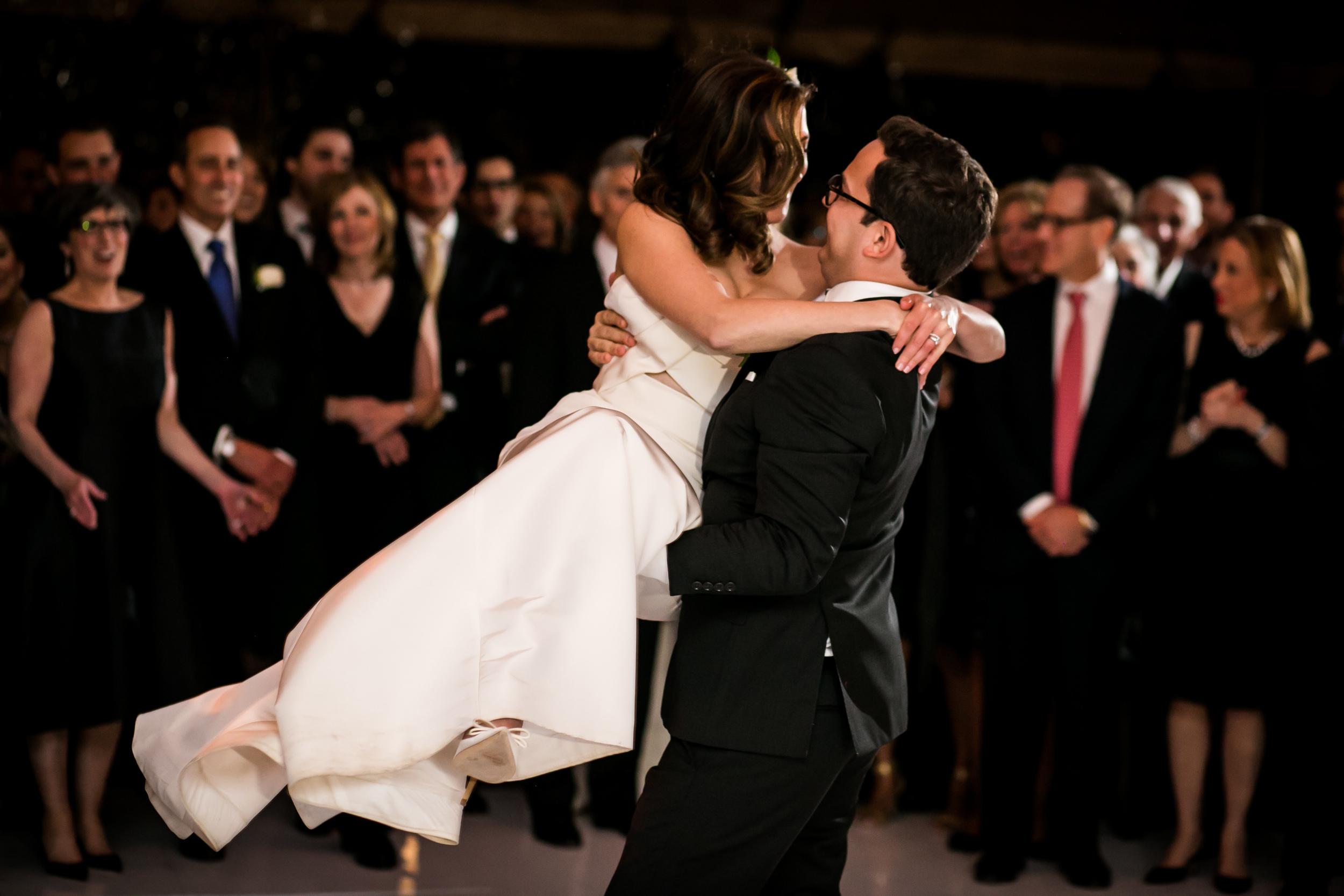 A wedding dance lift at the Chicago Botanic Garden