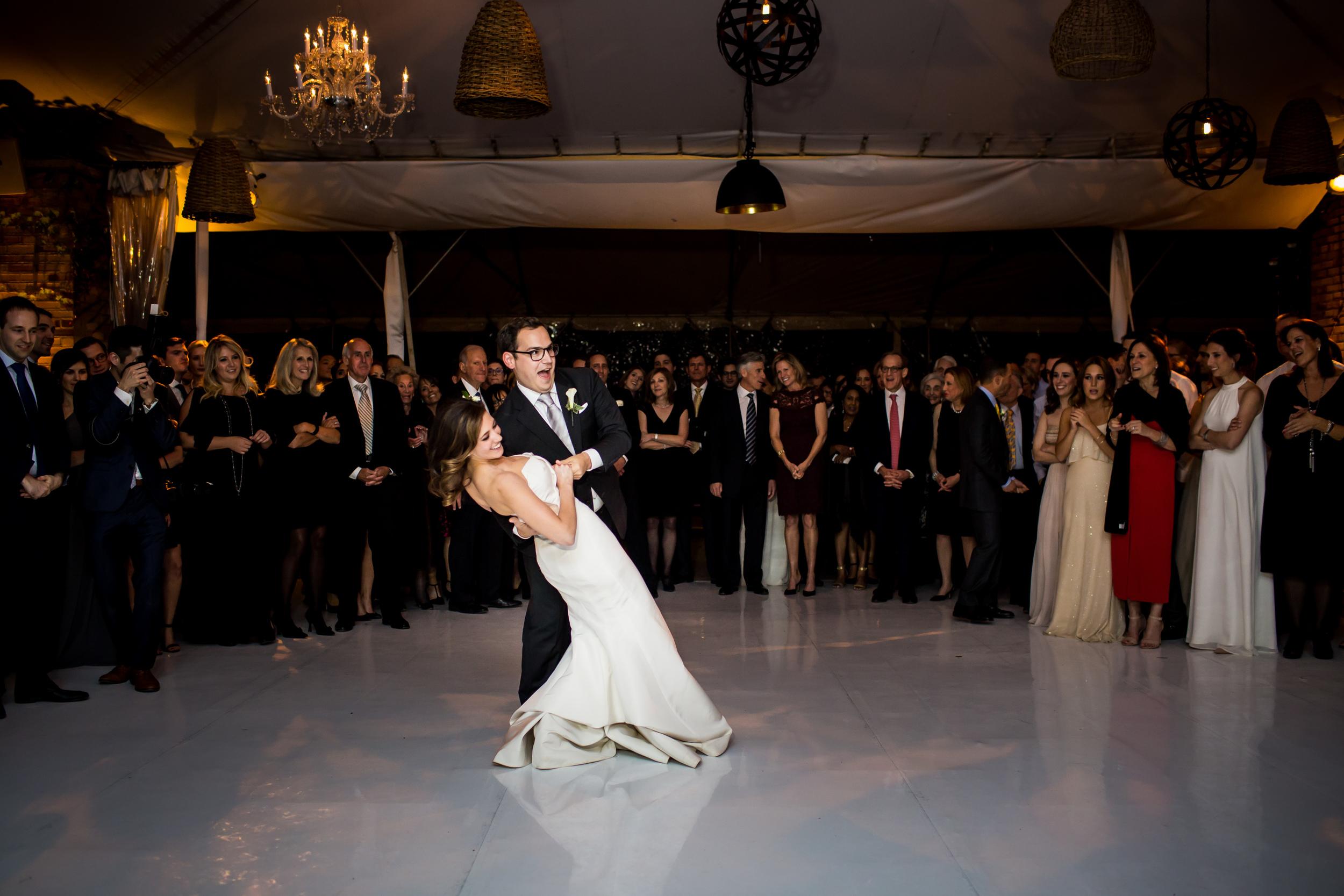A wedding dance dip done to John Legend at Chicago Botanic Garden