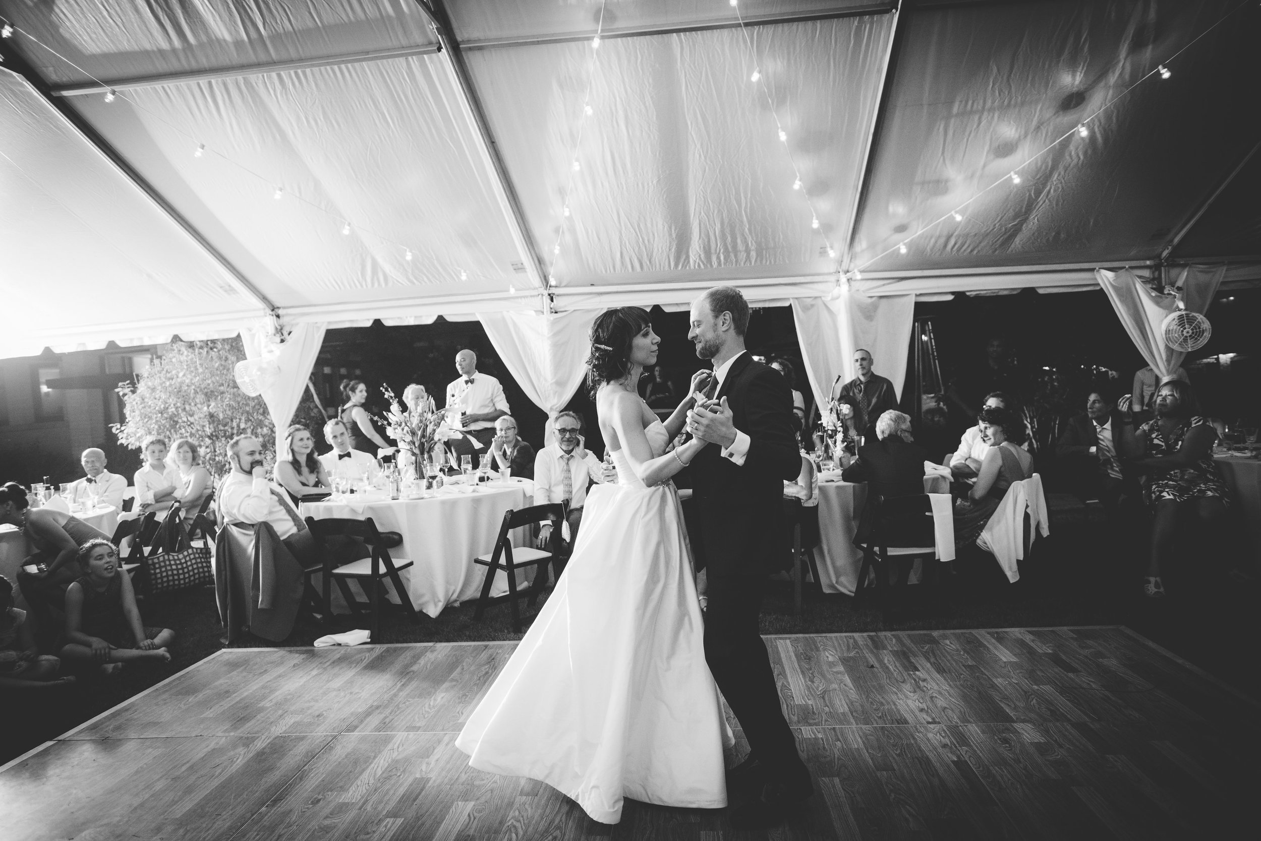 Jamie & Nicole doing their first dance at the Emil Bach House