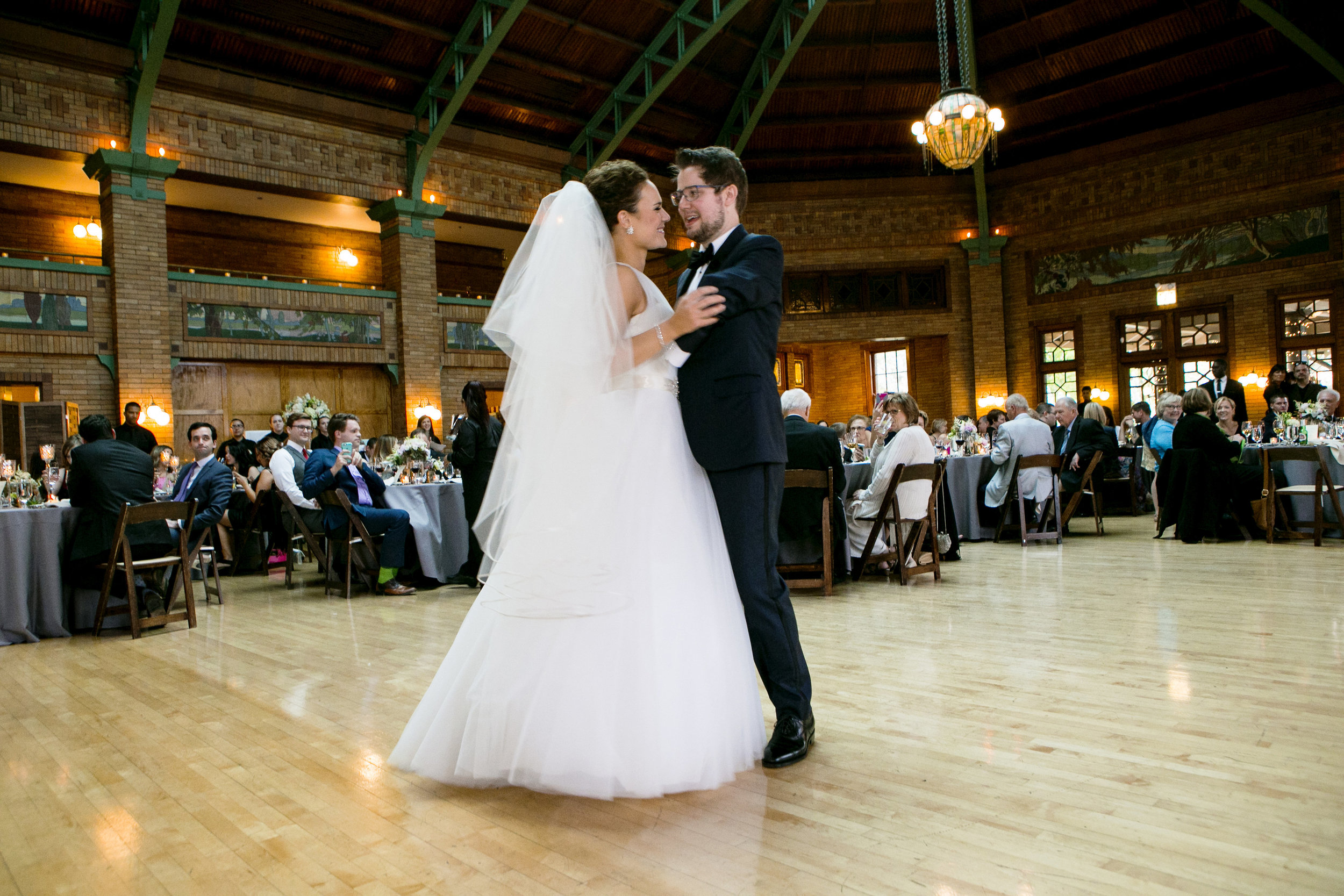 Couple doing their first dance in Chicago, Il