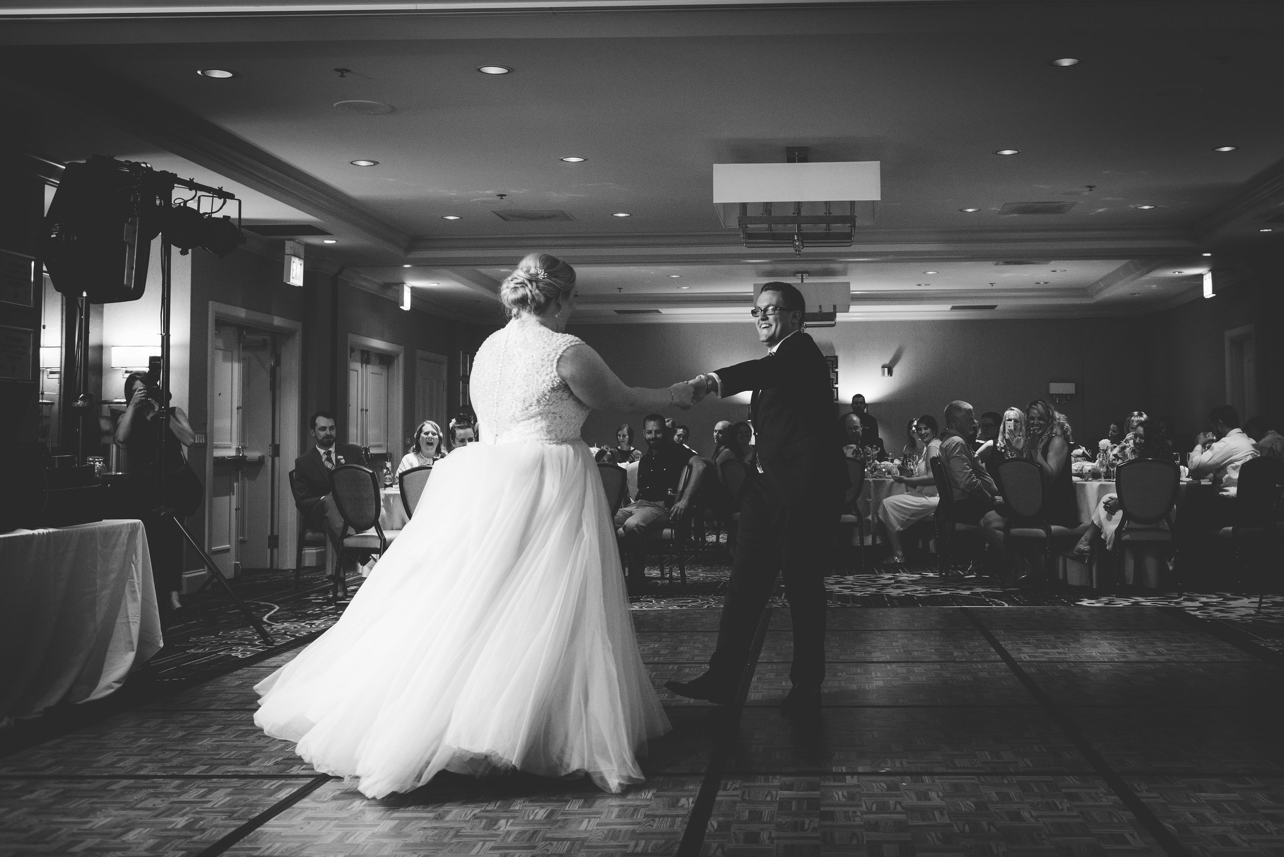 Couple twirling during their first dance