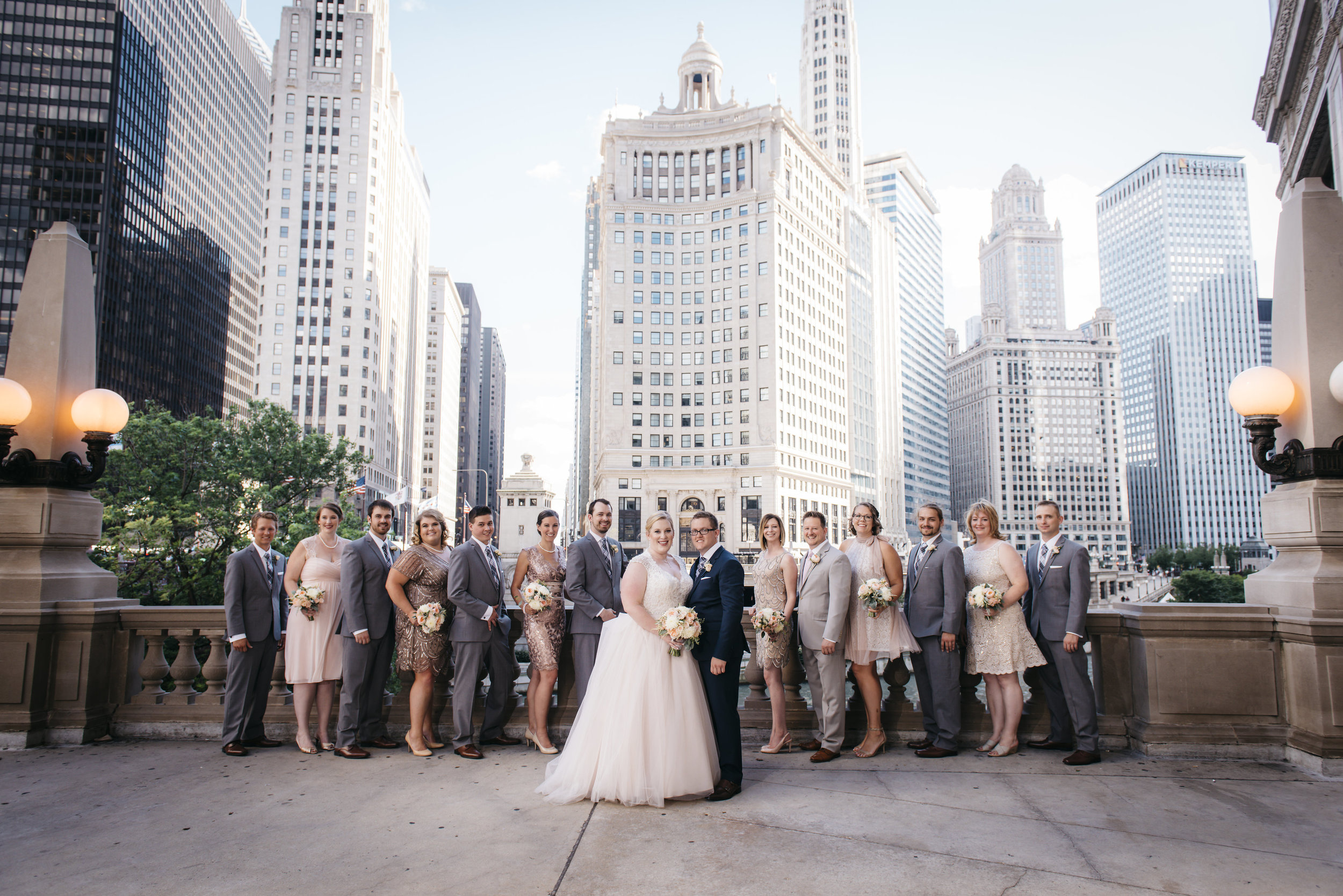 Chic wedding party in Chicago, IL
