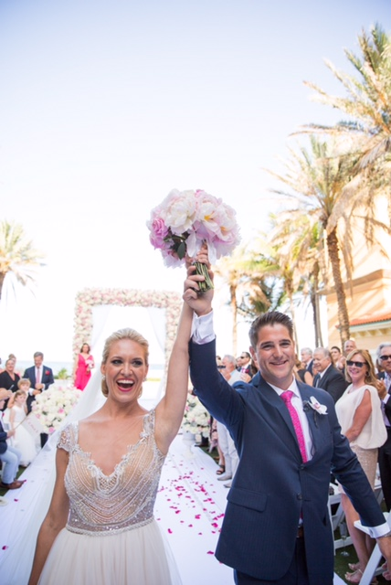 Bride and groom celebrate their marriage