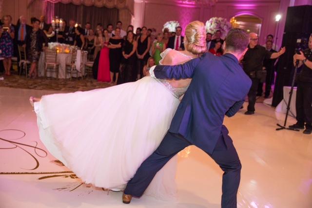 Wedding couple doing a cool dance move