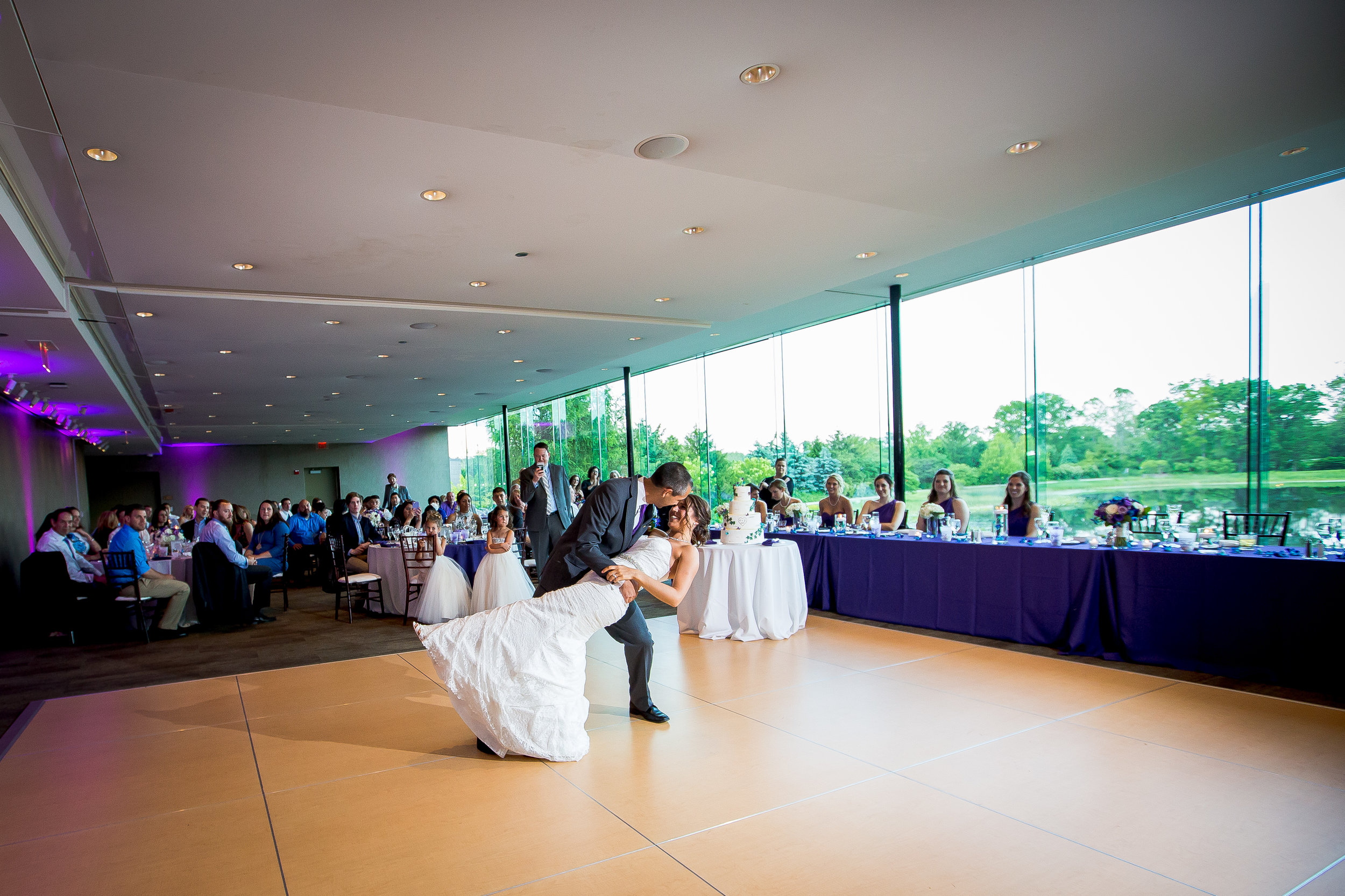 Bride and groom dipping during their first dance