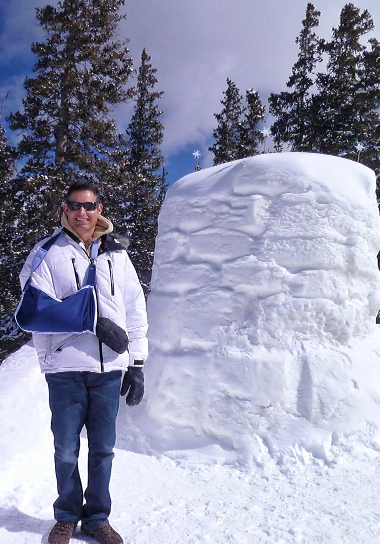 mick in front of snow sculpture keystone
