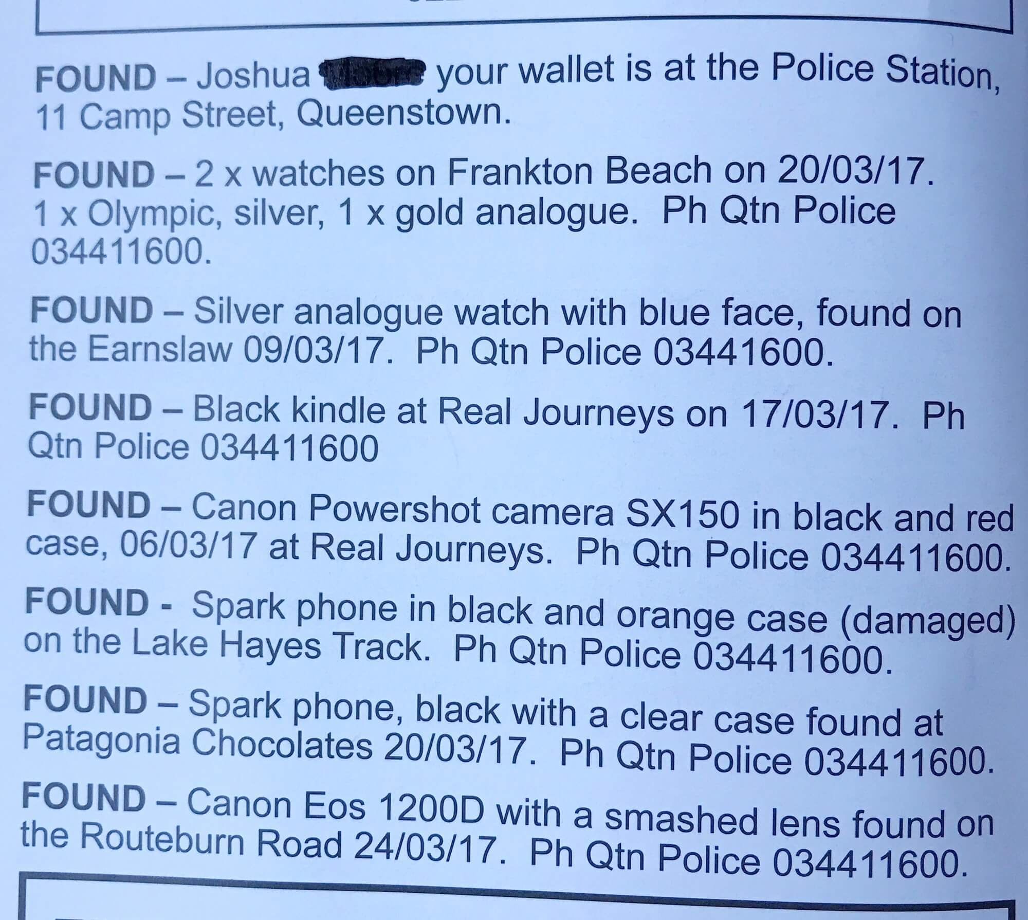 A SNIPPET FROM THE LAKES WEEKLY BULLETIN - LOST AND FOUND SECTION