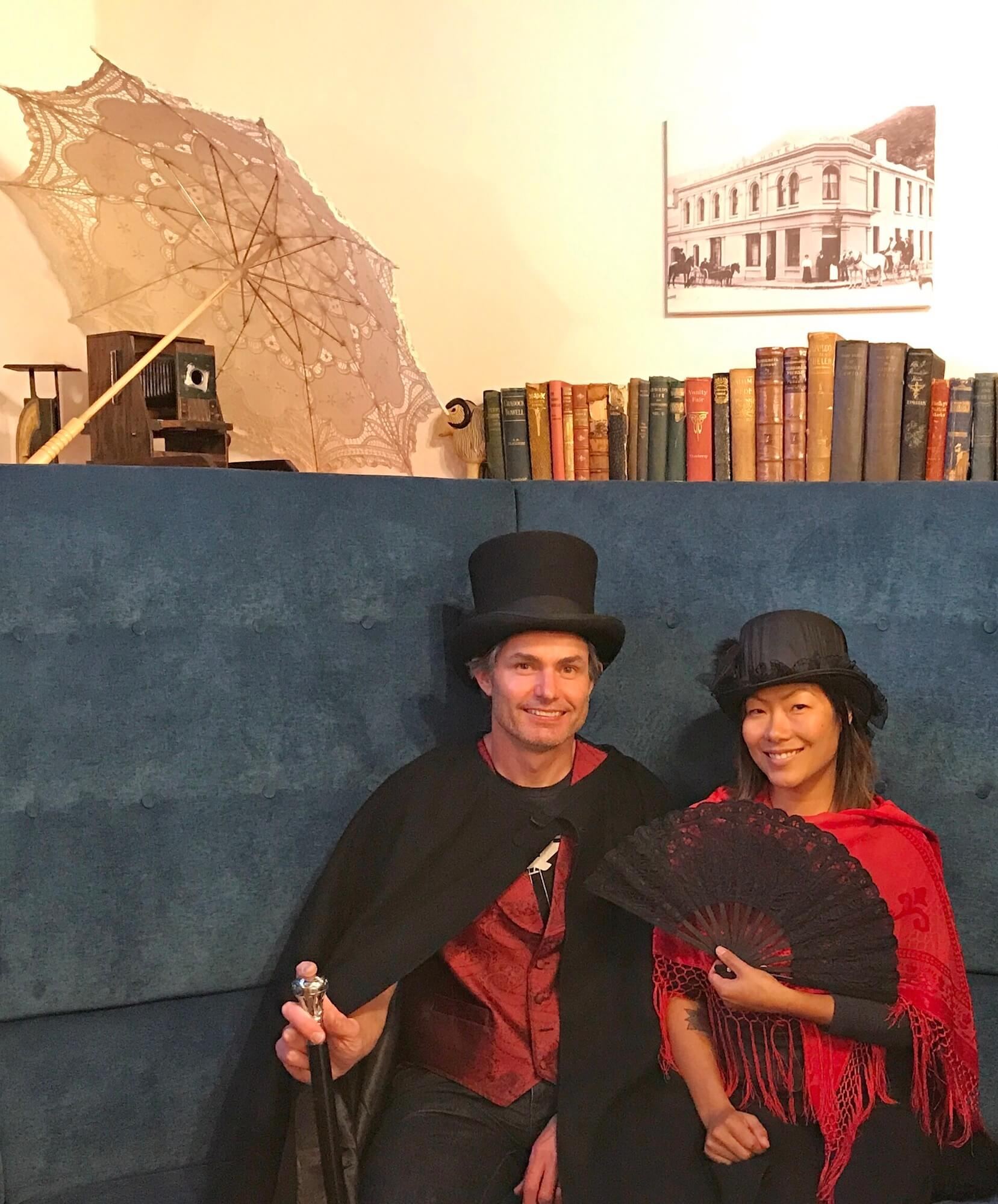 DOING OUR BEST TO LOOK LIKE CITIZENS OF THE QUEENSTOWN GOLD RUSH ERA!