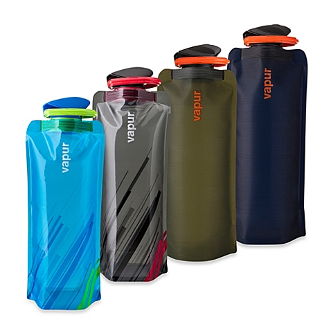 Vapur Collapsible Water Bottle - An ingenius idea - the collapsible and reusable water bottle. Fill it up, stick it in your pocket and roll it up once you have finished drinking. Having that weight in your pocket is an added incentive to drink all that water too!Features include:- 100% Made in the USA- Super Cap--Flip Cap. Tough Seal. Easy Open.- Ultra Durable BPA-Free 3-Ply Material. Dishwasher Safe.- Foldable, portable and flexible. Reusable and Freezeable.- Wide Mouth Opening; Integrated clip keeps rolled bottles pocket friendly.