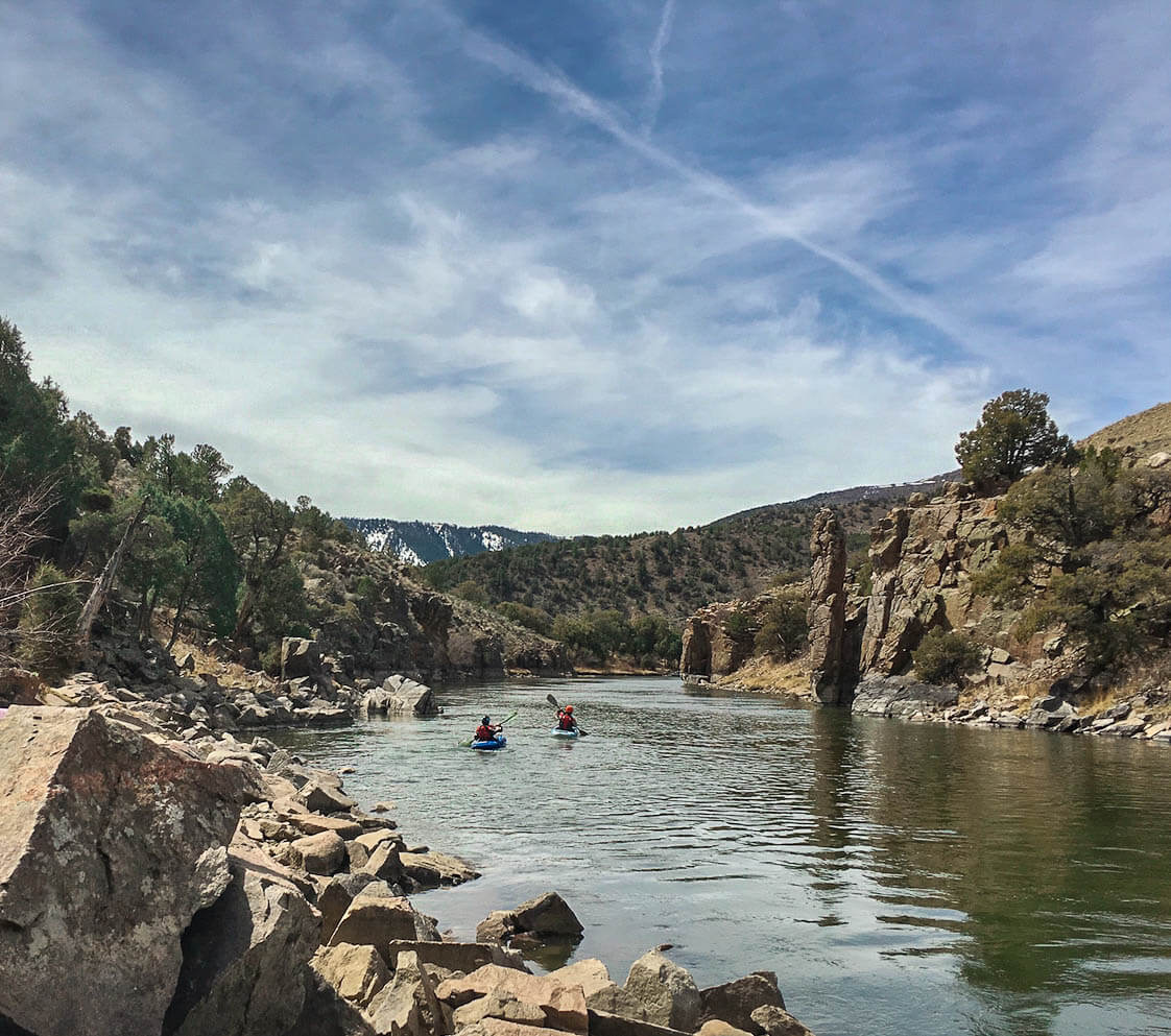 kayaking colorado river away from radium hot springs