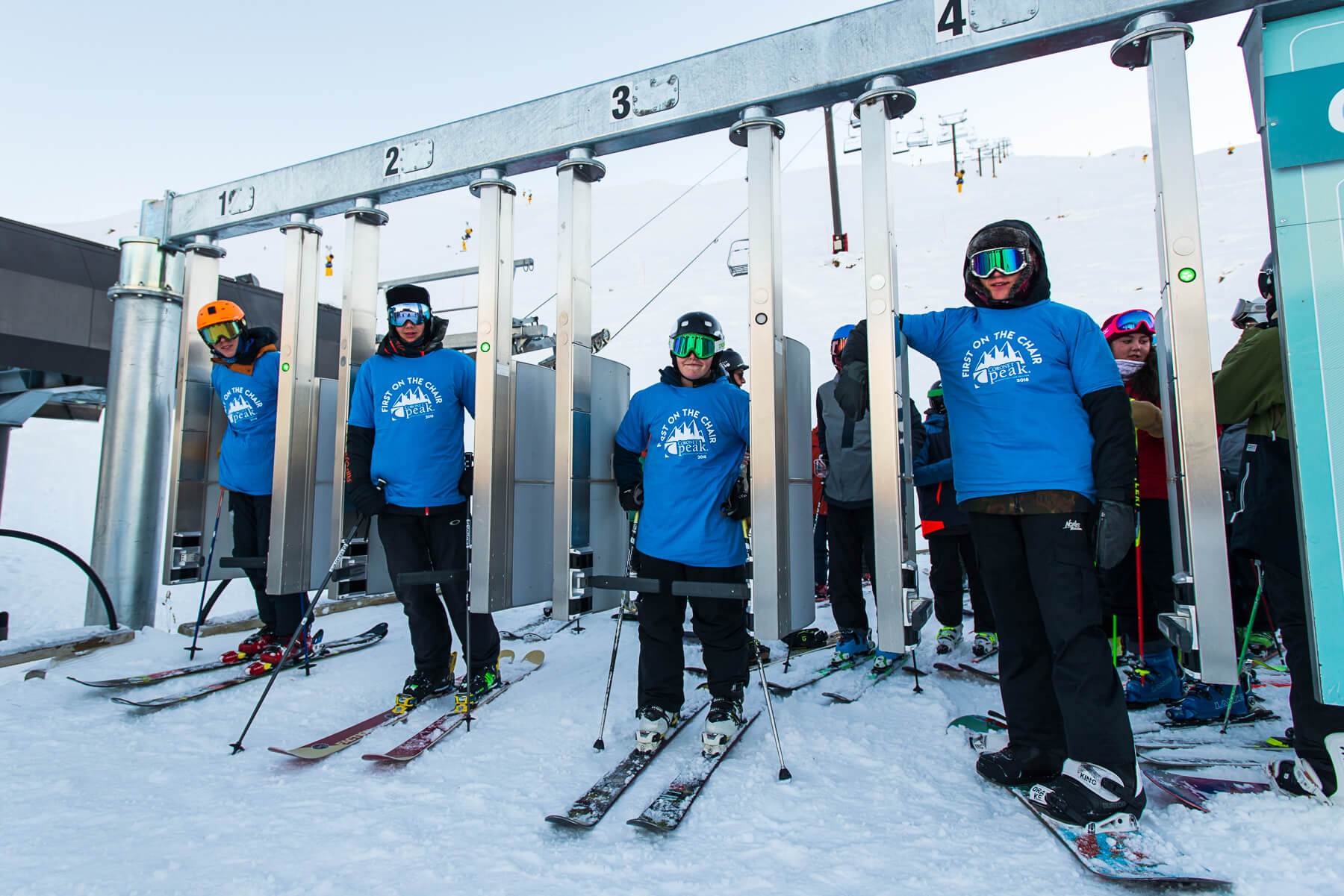 First on the lift, from left to right are 15-year-old high school locals Charlie Hogan, Toby Duffy, Ben Robinson and Levi Collins.