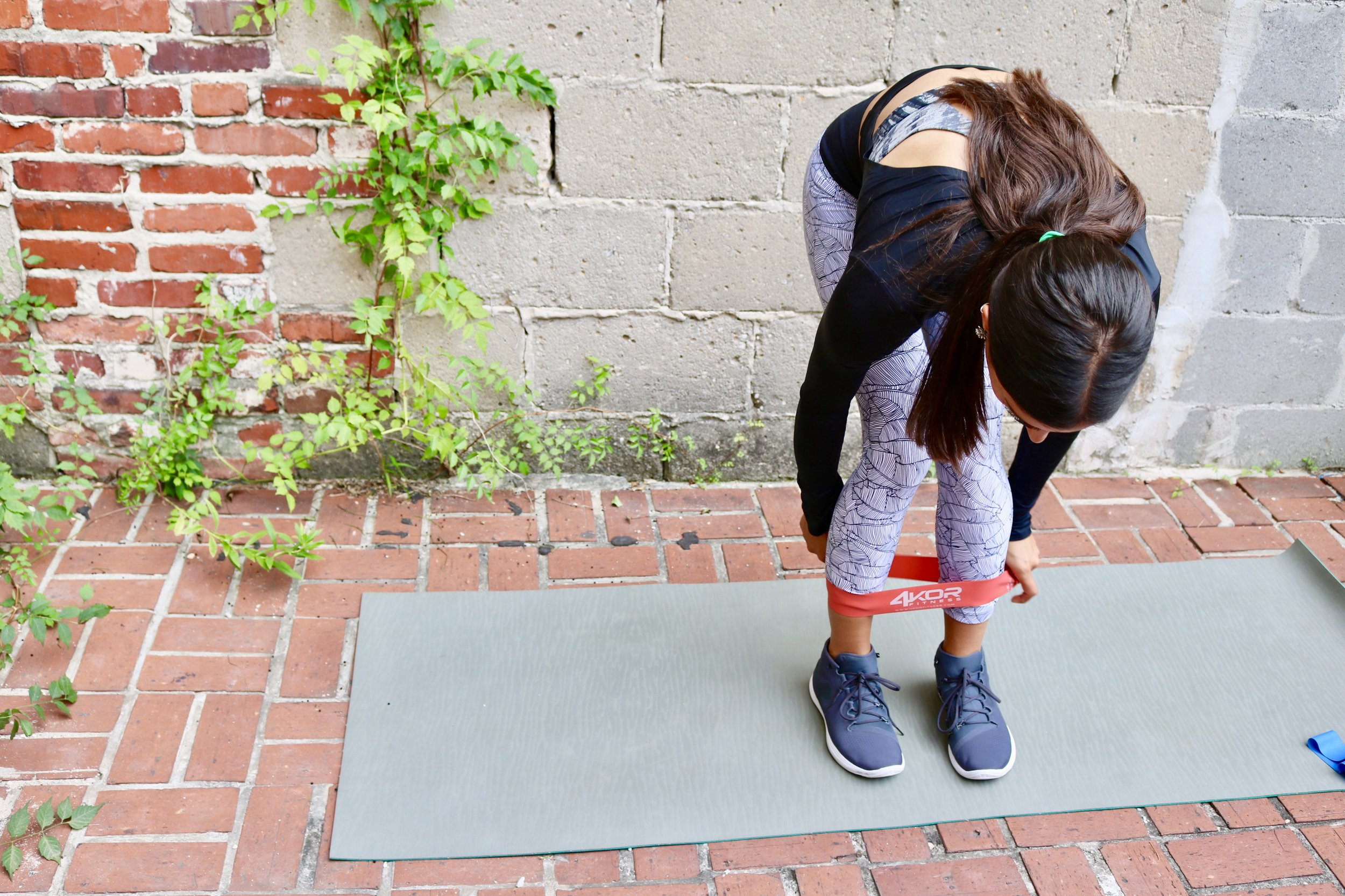 1. 15 Squat Jumps- Place the band right above your ankles. Get into a squat stance with your feet slightly turned out.