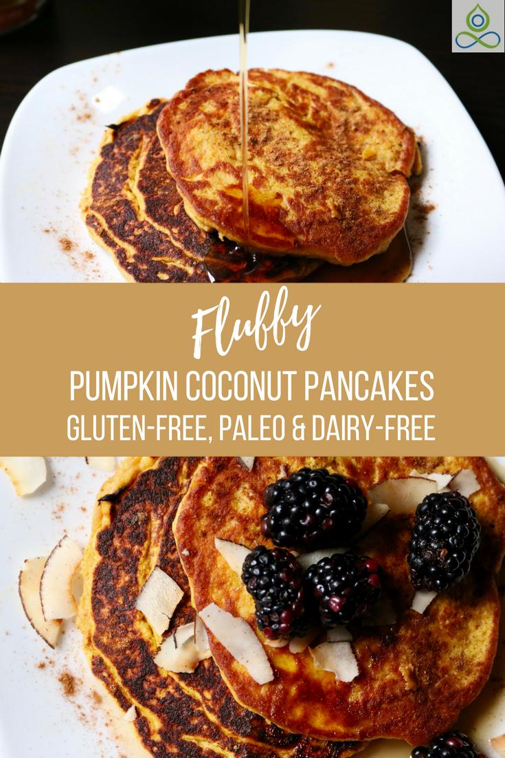 Fluffy Pumpkin Coconut Pancakes-Gluten-Free, Paleo, Dairy-Free
