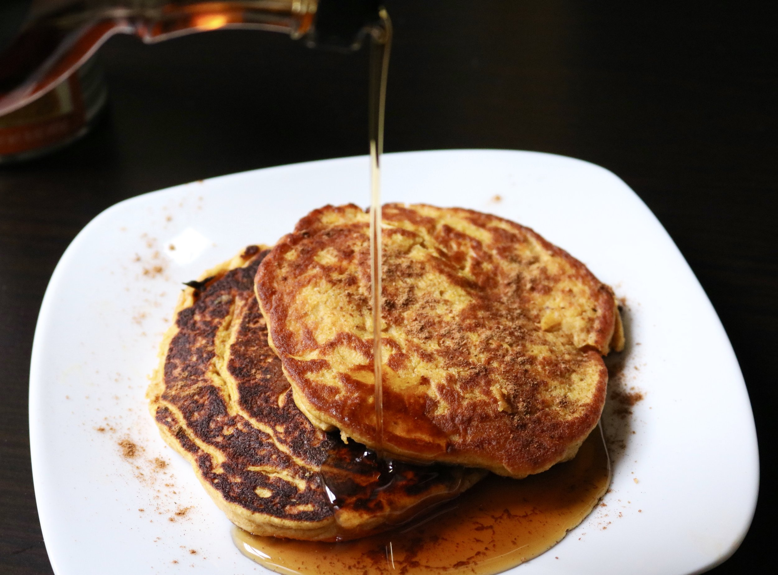 Fluffy Pumpkin Coconut Pancakes