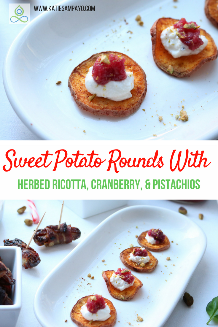 Sweet Potato Rounds with Herbed Ricotta, Cranberry, and Pistachios