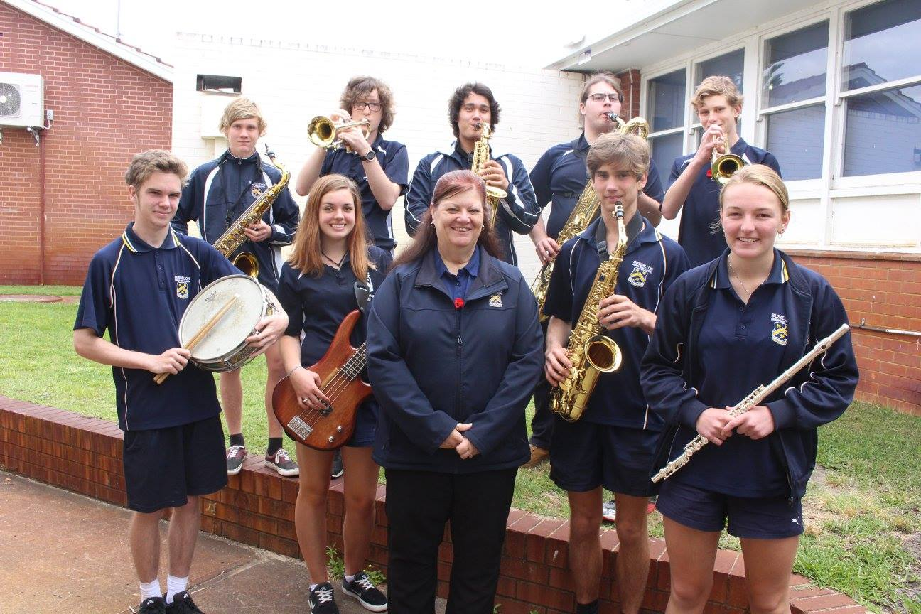 BSHS Head of music - nicky hair and bshs students involved in the music group