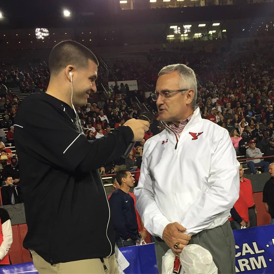 Interviewing Youngstown State President and former Head Football Coach Jim Tressel during the 25th Anniversary Celebration of his 1991 National Championship Team.